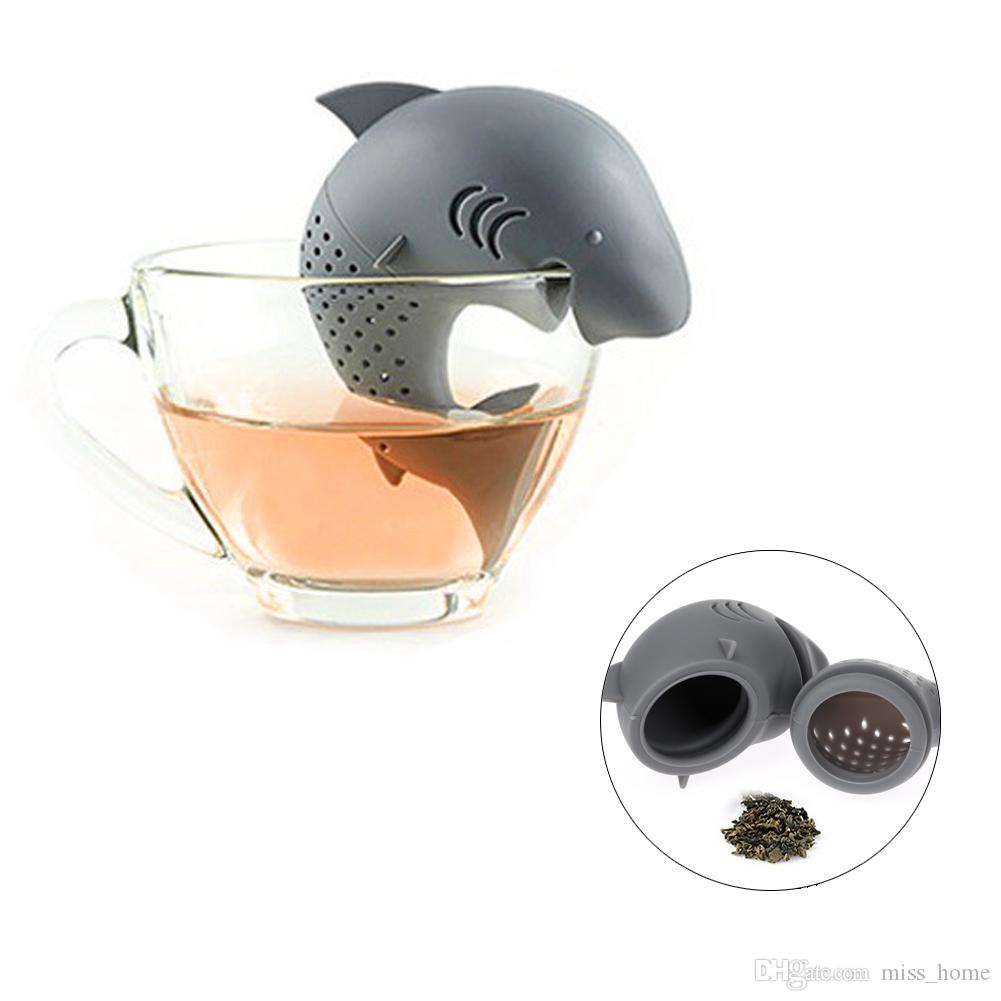 2018 Tea Infuser American Shark Shape Silicone Strainers Tea Strainer Infusor Filter Empty Tea Bags Leaf Diffuser Accessories