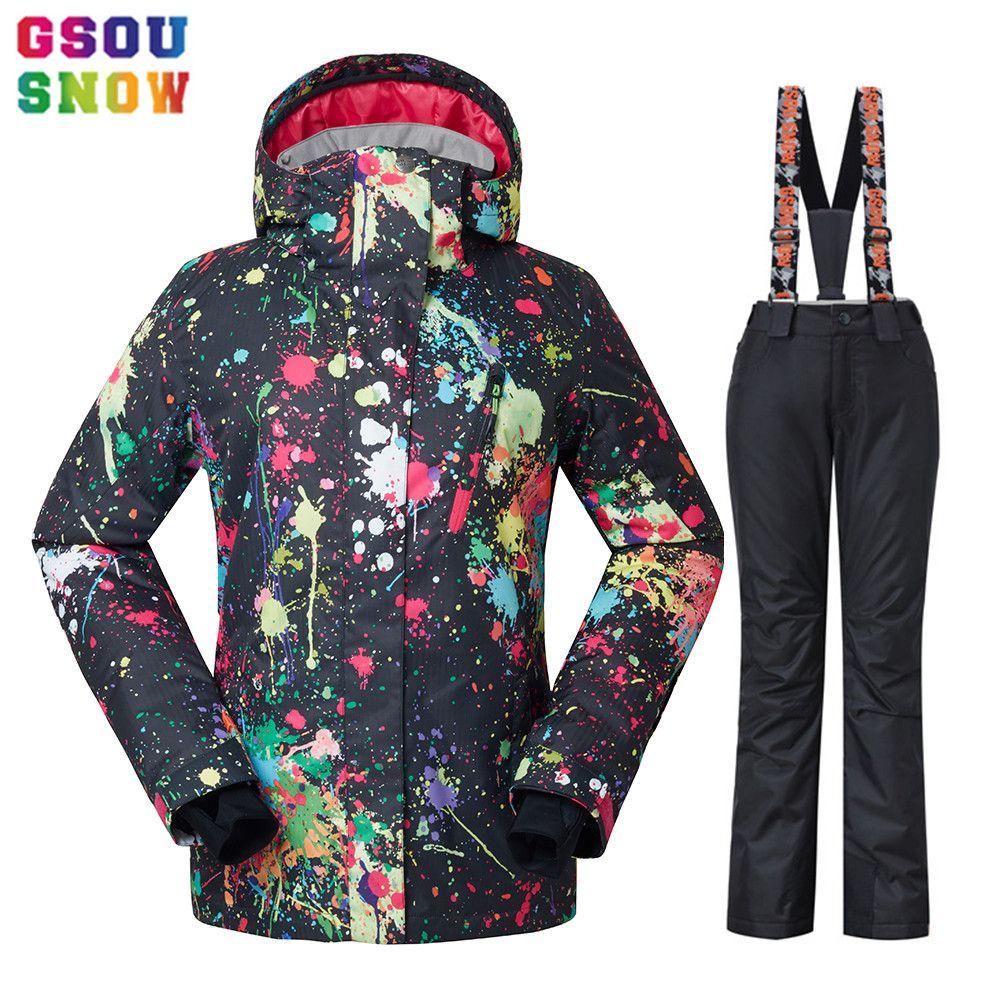 GSOU SNOW Waterproof Ski Suit Women Ski Jacket Pants Female Winter Outdoor  Skiing Snow Snowboard Jacket Pants Snowboard Sets UK 2019 From Oyzhiming 4fac96a35