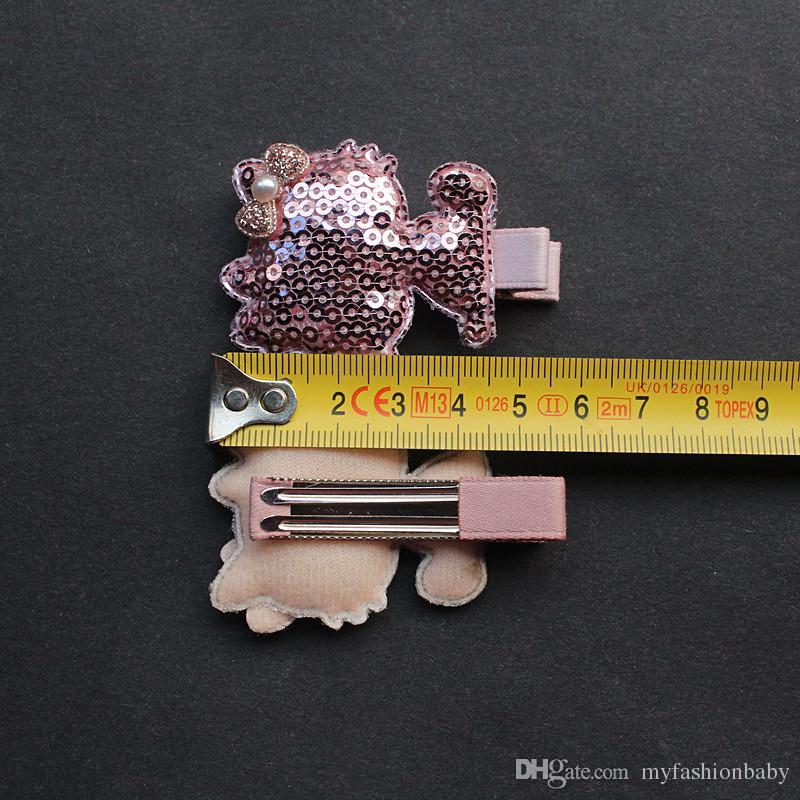 New Baby Hair Clips Glitter Cat Shape Clips Silver Cartoon Animals Hair Clips Shining Sequins Cute Kids Hiarpins