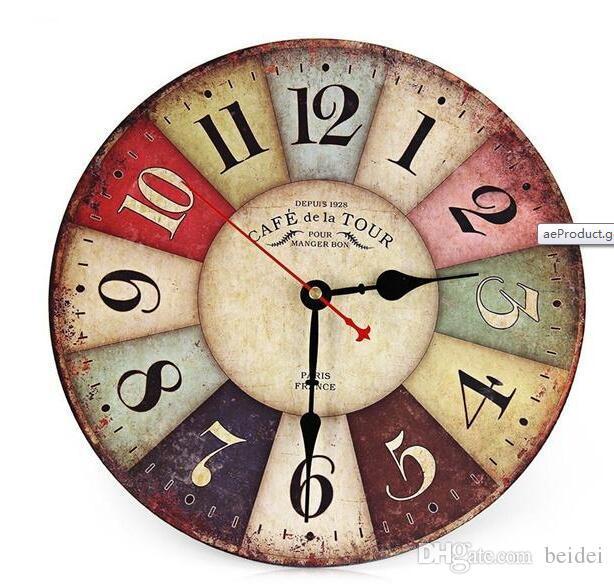 8dbb14eb002 Atacado-Vintage Relógio De Parede De Madeira Gasto Chique Rústico Retro  Cozinha Casa Decoração Antiga decoração relógios de parede de cozinha  decoração
