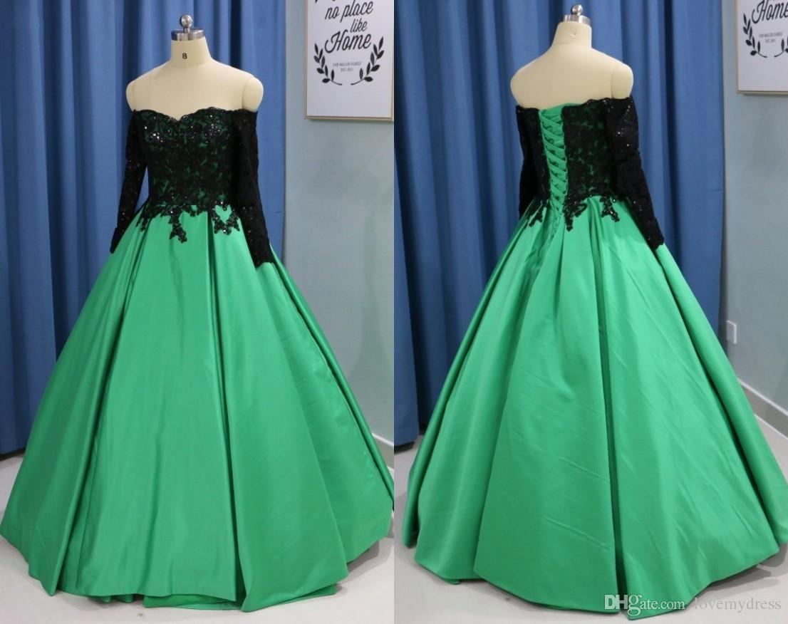92f0697f578 2018 Green Prom Long Dresses Evening Party Wear With Black Sequined Lace  Long Sleeves A Line Satin Corset Back Formal Gowns Cheap Elegant Prom Dress  Emo ...