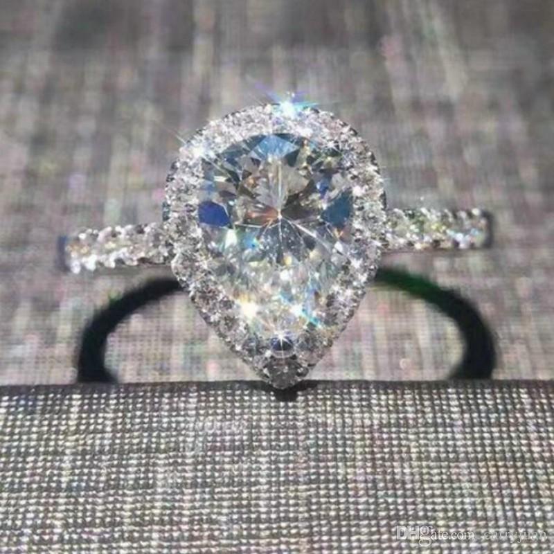 2de1600ba7 Wholesale Professional New Arrivals Luxury Jewelry 925 Sterling Silver Pear  Cut White Topaz CZ Diamond Wedding Heart Band Ring For Women