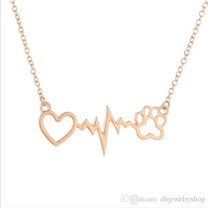 Горячая я люблю свою собаку медицинская электрокардиограмма ЭКГ сердце милый любитель домашних животных собака кошка Лапа печати кулон сердцебиение ювелирные изделия ожерелье Мемориал