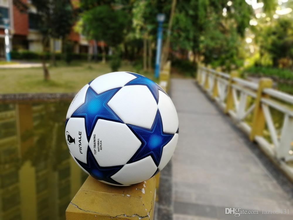 4ad02dd17 Compre Clássico Da Liga Dos Campeões De Futebol Estrelas Azuis Resistência  À Derrapagem Partícula Bola De Futebol Jogo De Bola Tamanho 5 De Lazio5431