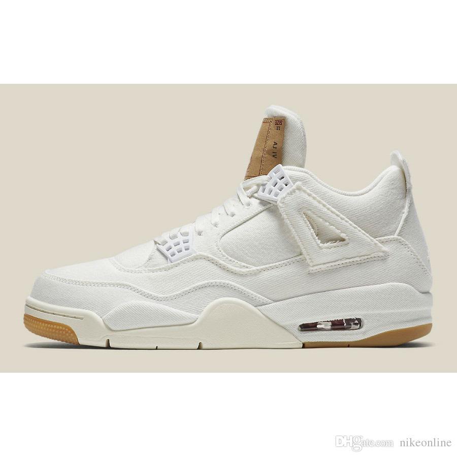 4bc8645aeb02fb Cheap Mens Jumpman 4 IV Basketball Shoes 4s Denim White Black Cat ...