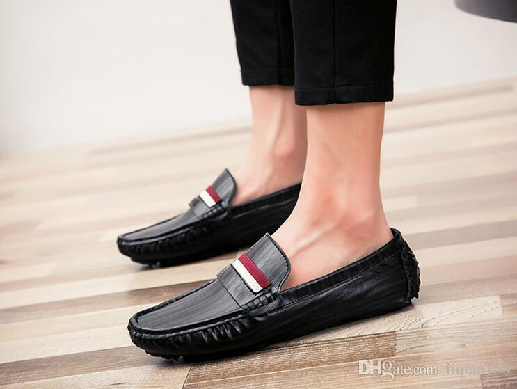 2018 Yeni Bahar Kore eğilim erkek ayakkabıları pedal pedalı tembel nefes erkek rahat Bezelye ayakkabı tuval gelgit a ...