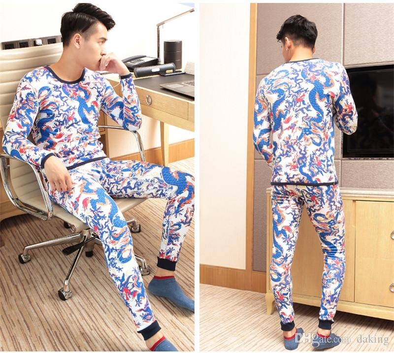 Winter Trend Men China Totem Dragon brown orange colorful Printing Thermal Underwear suits High quality Elastic cotton blend Warm slim sets