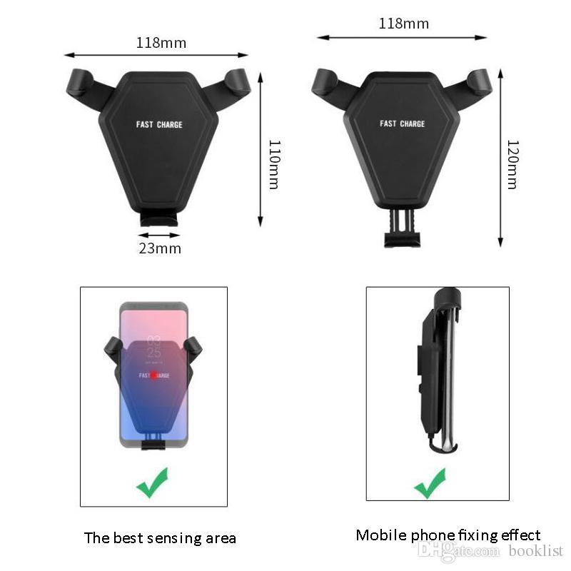 Veloce Qi Wireless Charger Car Mount Supporto del telefono Gravità Reazione iPhone 8 Plus X Samsung Galaxy S6 S7 S8 Plus
