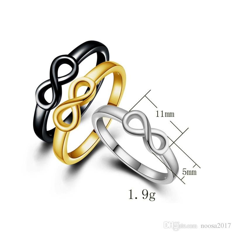 Fashion jewelry 5MM lucky 8 number rings polished alloy smooth ring the best gift to engagement couple rings for lover