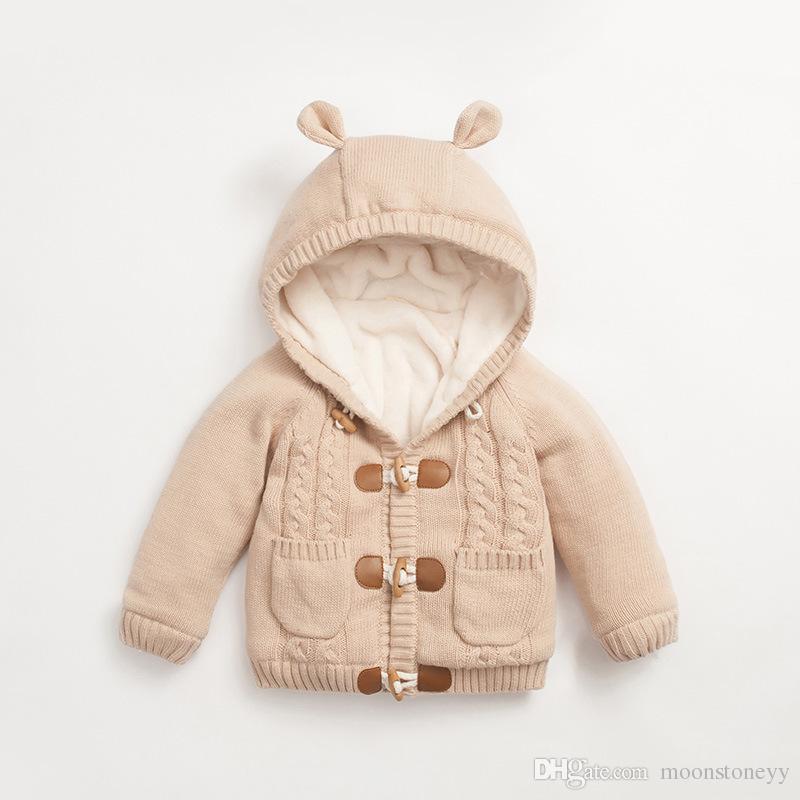 a5d3c246d Newborn Baby Girls Clothes Winter Jackets Warm Knit Fleece Coat For  Children Jacket Rabbit Ear Hooded Outerwear Kids Jacket Coat