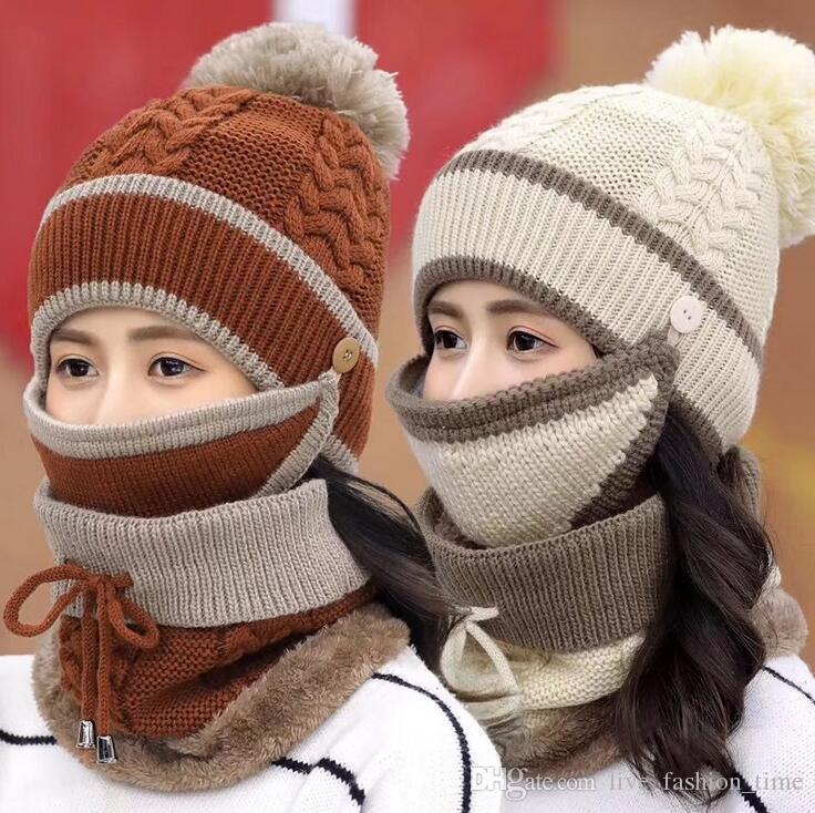 3645b66a08f9 Acheter Bonnet D hiver Chapeau Écharpe Et Masque Ensemble 3 Pièces Chapeau  Tricoté Bonnet Cou Cou Épais Tricoté Chapeaux D hiver Chaud Casquette De  Ski Pour ...