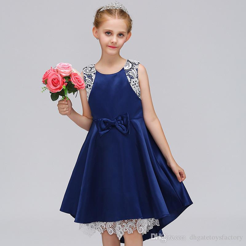 e2c8790465eb Elegant Summer Lace Princess Dresses With Bowknot Fashion New Arrivaling  Sleeveless Knee Length Pure Color Dresses For Children Girls Elegant Dresses  ...