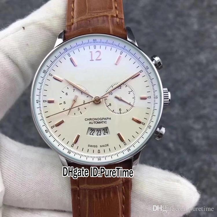 ESPECIALES Nuevo IW502701 Rose Gold White Dial DayDate Mecánico Automático Reloj para hombre Relojes deportivos Negro Marrón de cuero barato IW B294a1