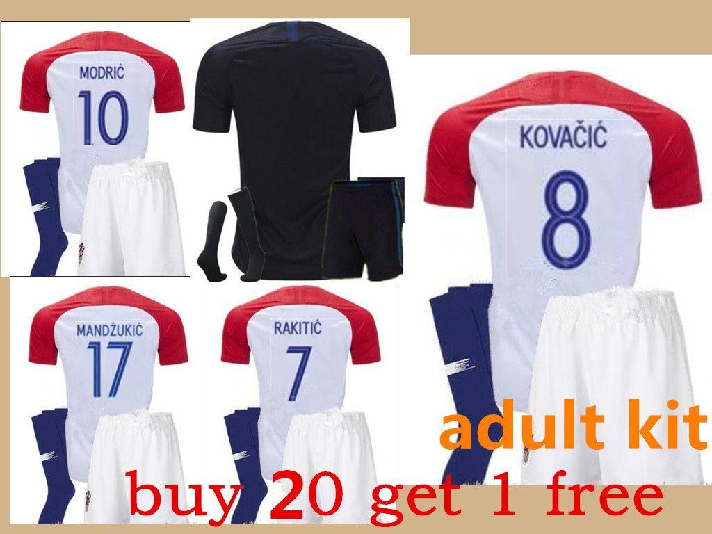 2018 World Cup Adult Kit Soccer Jersey MANDZUKIC Hrvatska MODRIC Football Kit  Shirt PERISIC KALINIC RAKITIC KOVACIC Jerseys Adult Kit with Socks Online  with ... 32174d9f0
