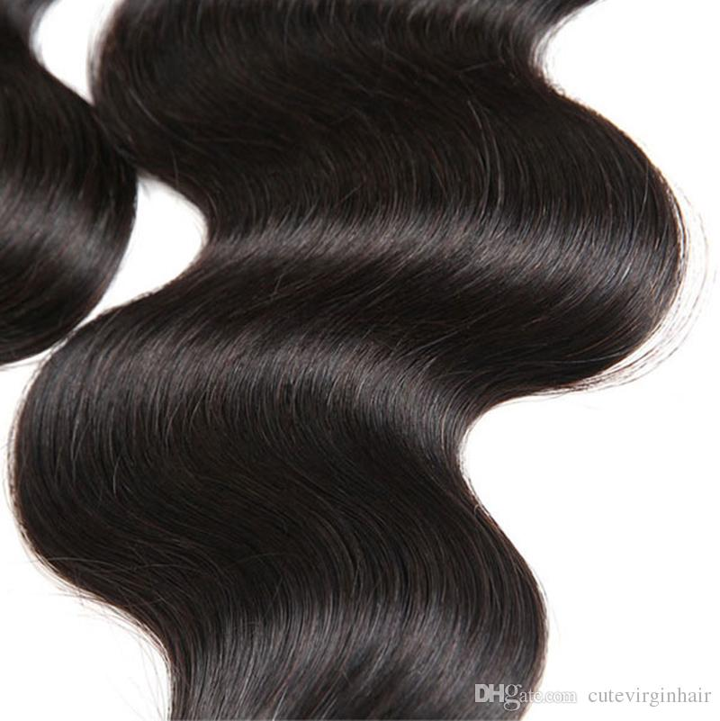 Real Remy Human Hair 3/4 Bundles onda recta del cuerpo sin procesar brasileña virginal del pelo trama trama extensión del pelo grado 10A color natural