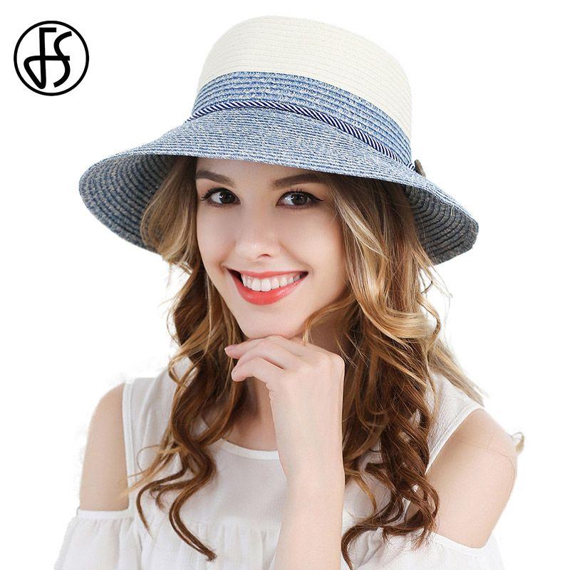 394dbe427 FS Ladies Wide Brim Beach Visor Blue Green Womens Foldable Sun Straw Hats  Ribbon Summer Fashion Floppy Uv Protect Cloche Hat