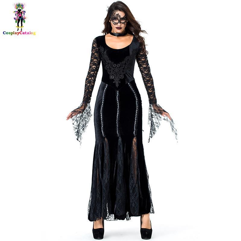 Gothic Deluxe Women Lace Black Long Dresses