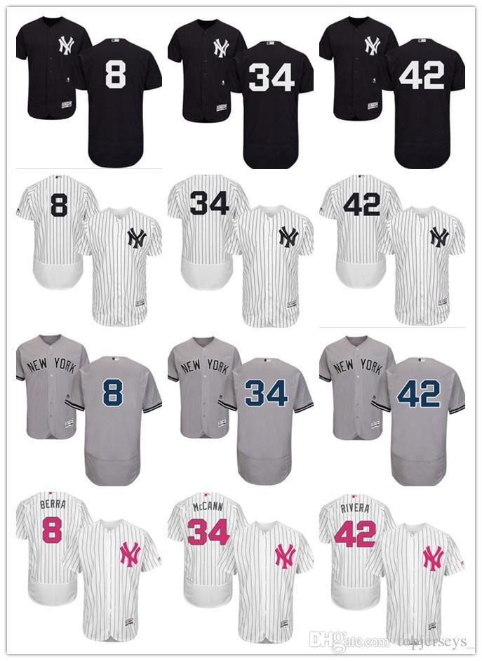 c41950db26d 2019 2018 Custom Men Women Youth NY Yankees Jersey  8 Yogi Berra 34 Brian  McCann 42 Mariano Rivera Home Black White Grey Baseball Jerseys From  Goodtshirt01