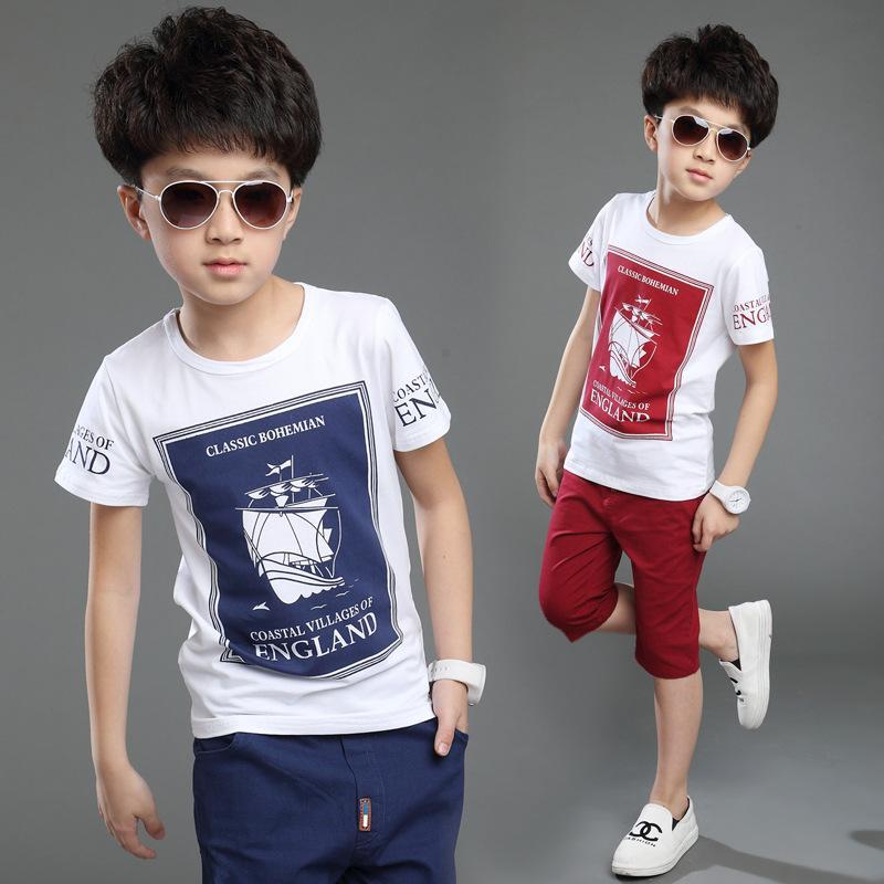 a2580de49237 2019 Kids Boys Clothes Short Sleeved+Shorts Suit 2018 Summer ...