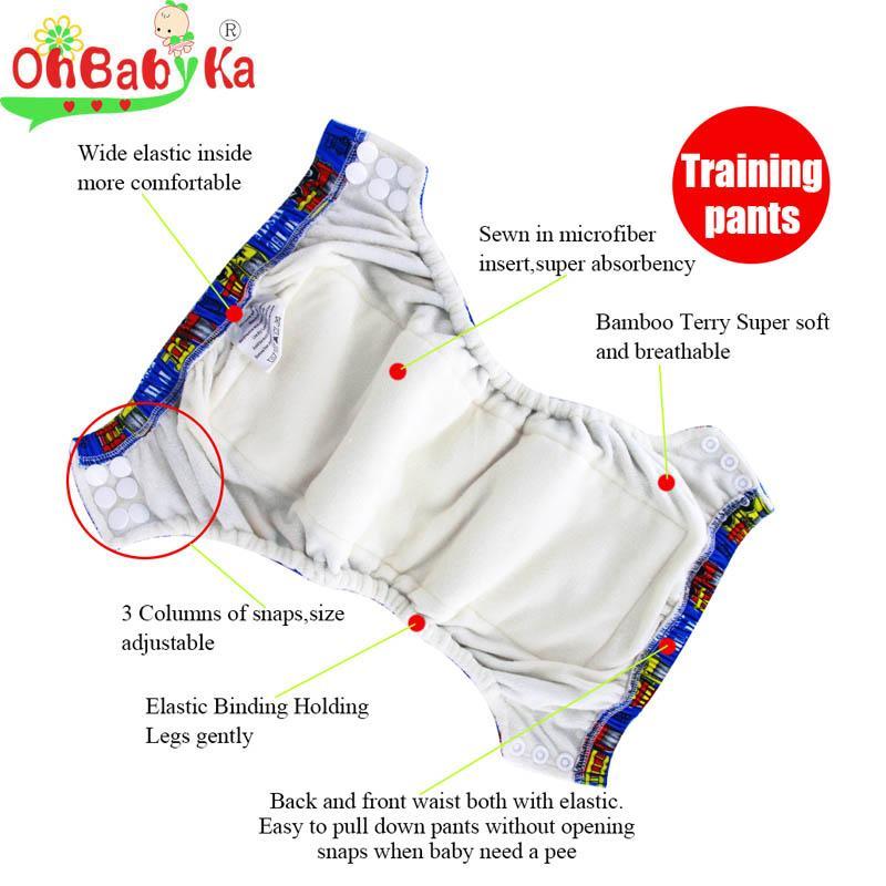 Ohbabyka Lavable Reutilizable Pañales para bebés Pantalones de entrenamiento ajustables para bebés recién nacidos con broches de bambú Dentro de la ropa interior transpirable