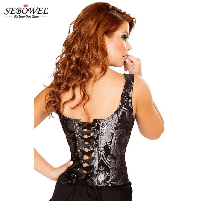 SEBOWEL 2017 Spandex Bustiers Sexy Shapewear Sous-Vêtements Body Shaper Taille Corsets Plus La Taille Femmes Noir Underbust Corset Top