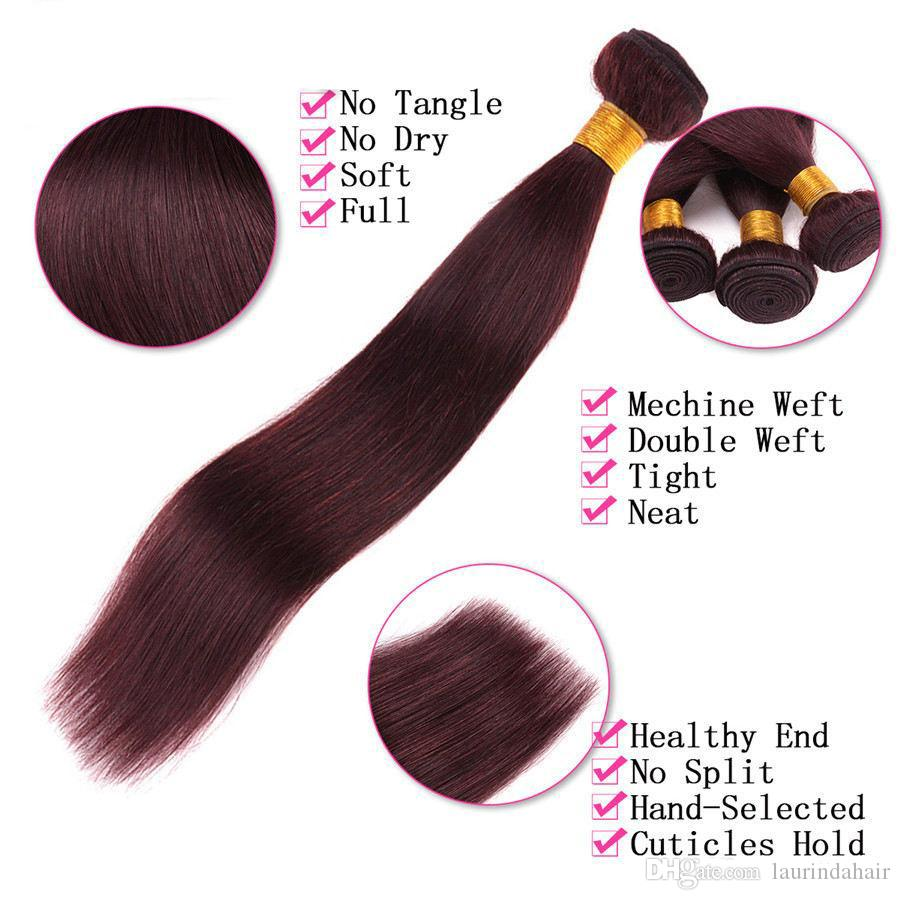Hot Sale Unprocessed 99j Straight Virgin Hair With Closure #99J Malaysian Human Hair 3 Bundles With Lace Closure Red Hair