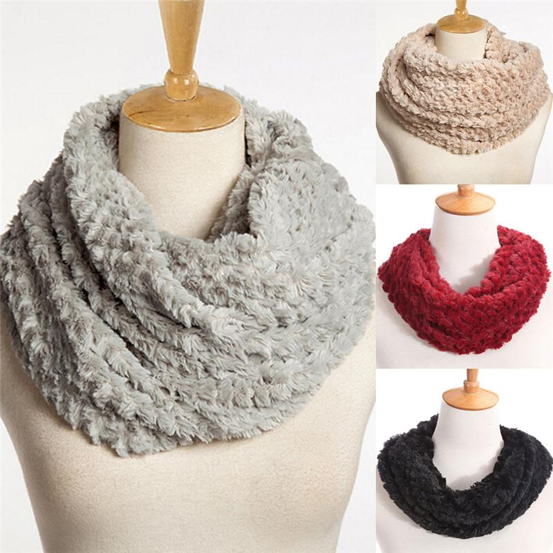 Women Winter Warm Infinity Circle Cable Knit Cowl Neck Faux Fur ...