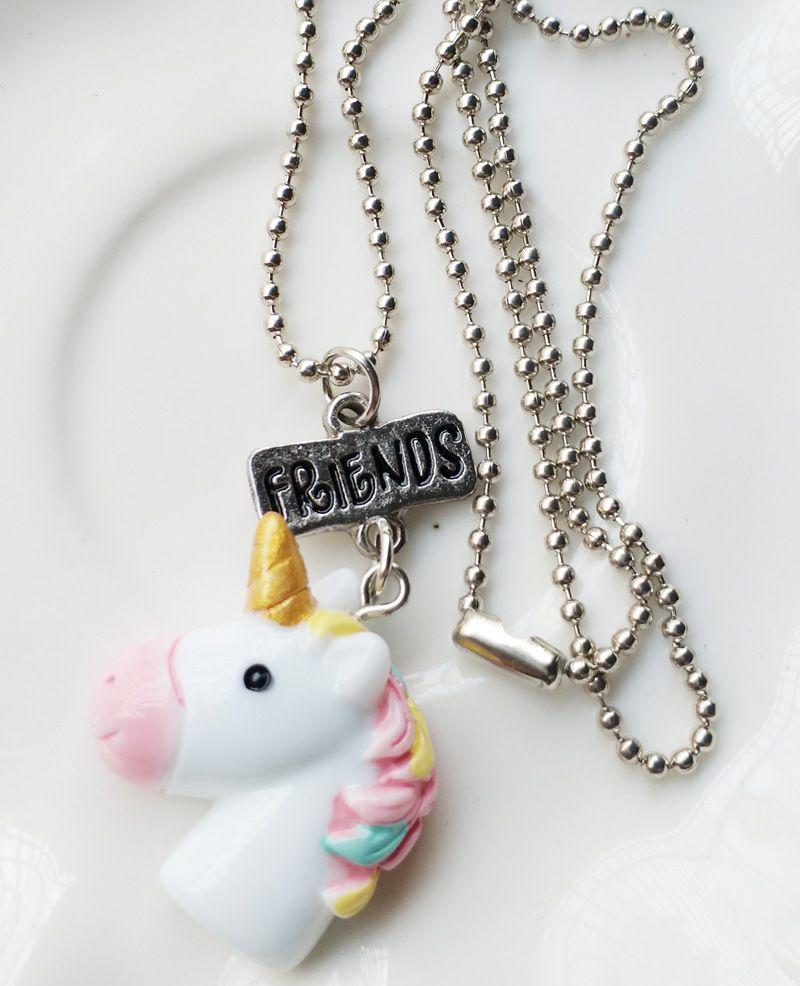 Einhorn Halskette beste Freunde Anhänger Kette vergoldet Weißgold Kinder BF Schmuck Bunte Geschenk Zubehör B001