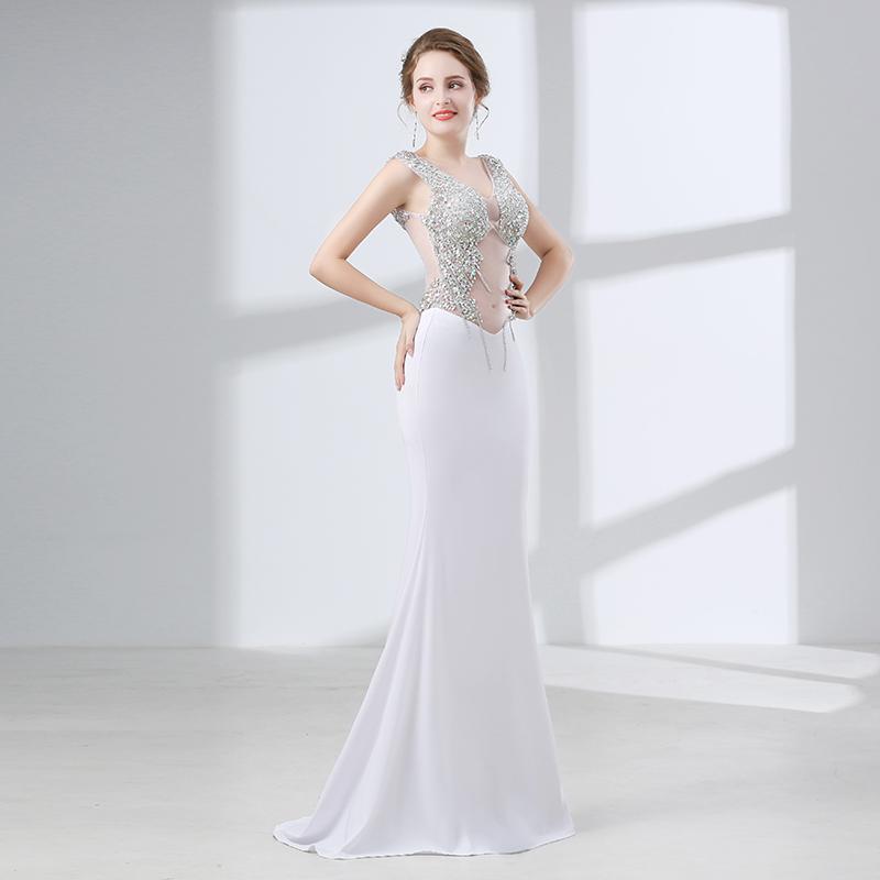 timeless design 6d253 a5cd1 Vedere attraverso abiti da sera bianchi sexy fit strass paillettes perline  abiti da ballo abiti da sera lunghi abiti da sera