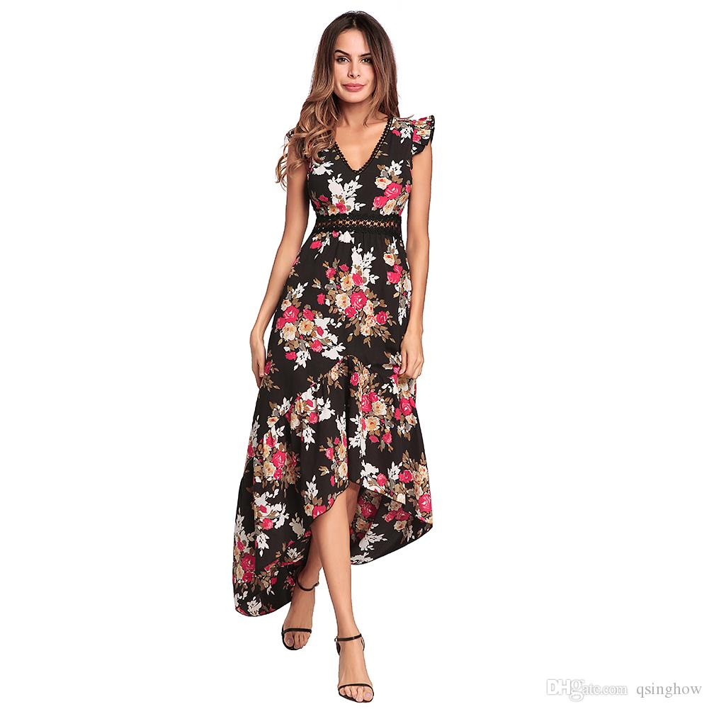 e3e9c82b522 2019 Women S V Neck Chiffon Long Dress Summer Beach Floral Print Split  Party Maxi Dress Evening Grown Sexy Printed Backless Dresses From Qsinghow