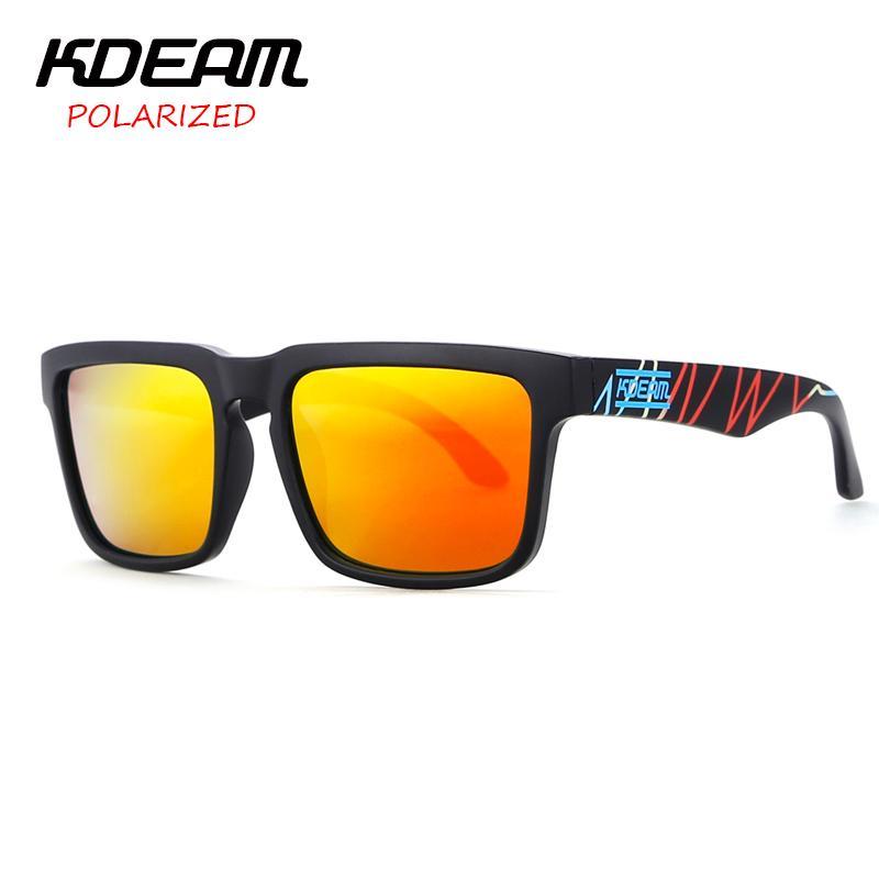 1aa405c3a7 Compre KDEAM Projeto Batida Do Coração Super Novos Óculos De Sol Quadrados  Dos Homens Óculos De Sol Das Mulheres Lente HD Vermelho Polarizada UV400  Com Hard ...