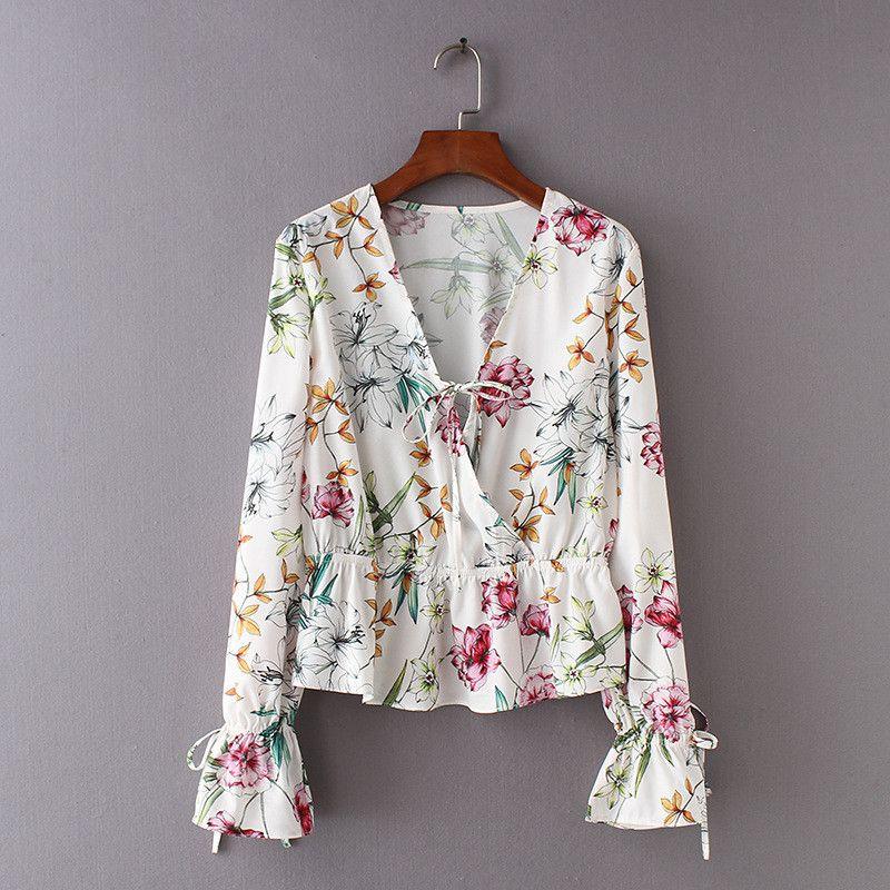 5c8ce080f5e2b 2019 Bohemian Peplum Ruffle Floral White Shirt Blouse Women Top Long Sleeve  Deep V Sexy Shirts Blouses Women Tops Blusa Feminina From Oott