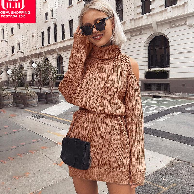 7d01272a87509b 2019 Simenual Turtlenecks Sweater Dress With Open Shoulder 2018 Autumn  Winter Long Sleeve Short Dresses For Women Straight Vestidos D18102902 From  Tai01