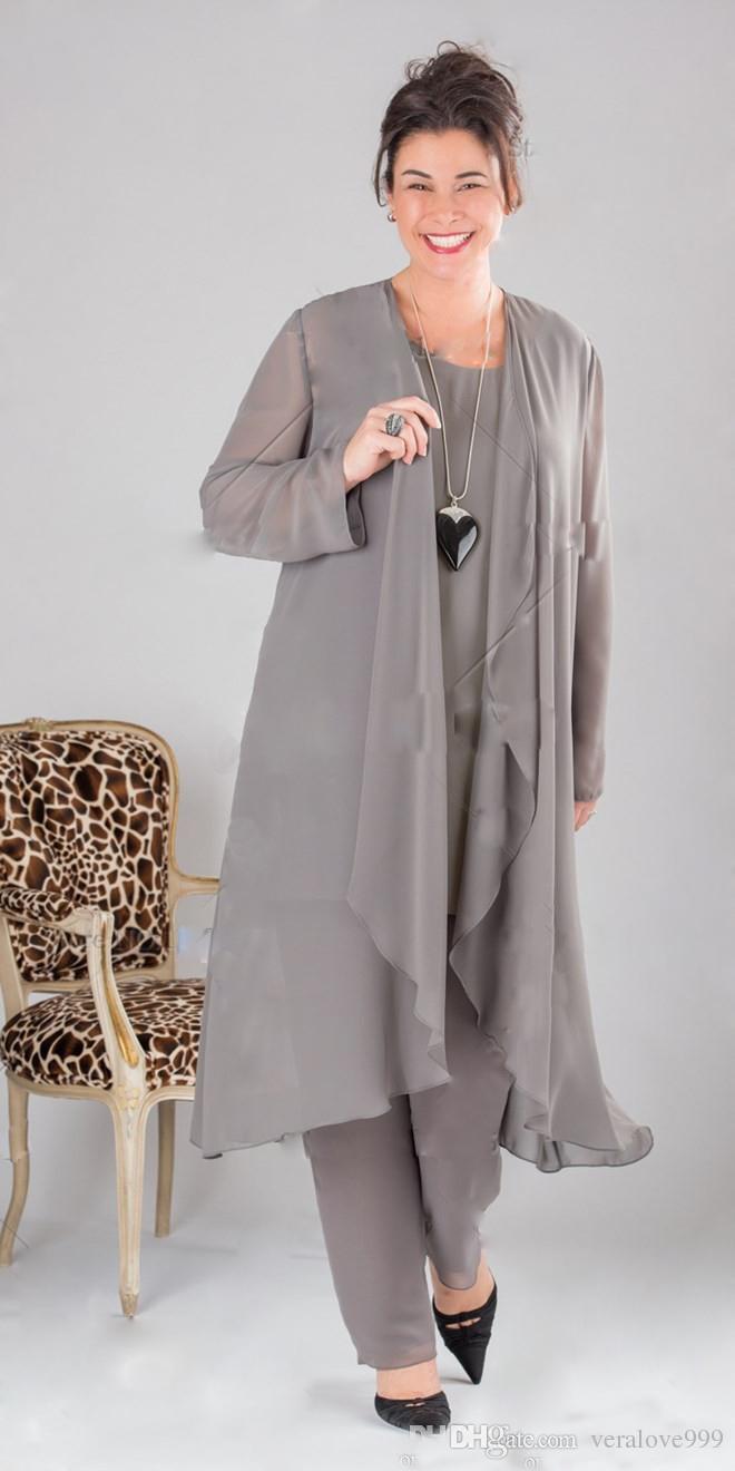 Элегантный серый мать невесты Платья с длинным рукавом плюс размер мать невесты брюки платья костюмы с курткой клиент сделал вечернюю одежду
