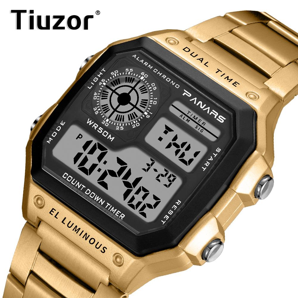Compre Reloj Digital Hombre Acuático 50 Relojes De Oro A Prueba De Agua Led  Reloj De Pared De Acero Inoxidable Reloj De Pulsera Para Hombres Relojes A  ... 403e66f064bf