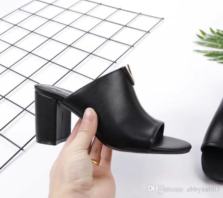 2018 Luxury New V Womens Casual Chunky Heel Sandals Leather Peep Toe High Heels Fashion Slipper On Open Toes Womens Sandals