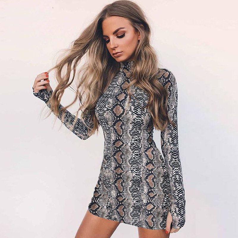 484829069c5 Snake Skin Long   Short Sleeve Dress 2018 Autumn Women Sexy Bodycon  Snakeskin High Neck Party Mini Dresses Vestidos Dresses Cheap Dresses Snake  Skin Long ...