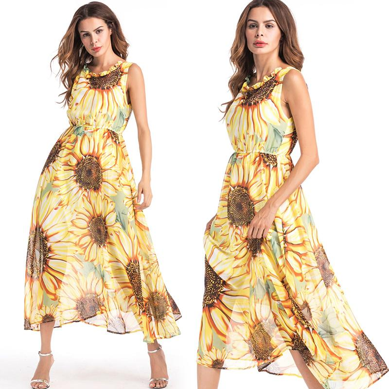 Bohemian Dresses for Women with All Over Print Sunflower Floral Design  Beach Dress Plus Size Vacation Holiday Clothes Sundress Yellow Color