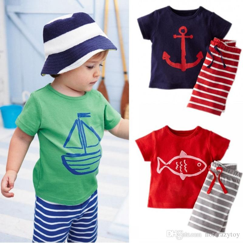 Newborn Toddler Baby Kids Boys Summer 2PCS Short Sleeve O-Neck Pullover Pattern Print Solid T-Shirts Striped Shorts