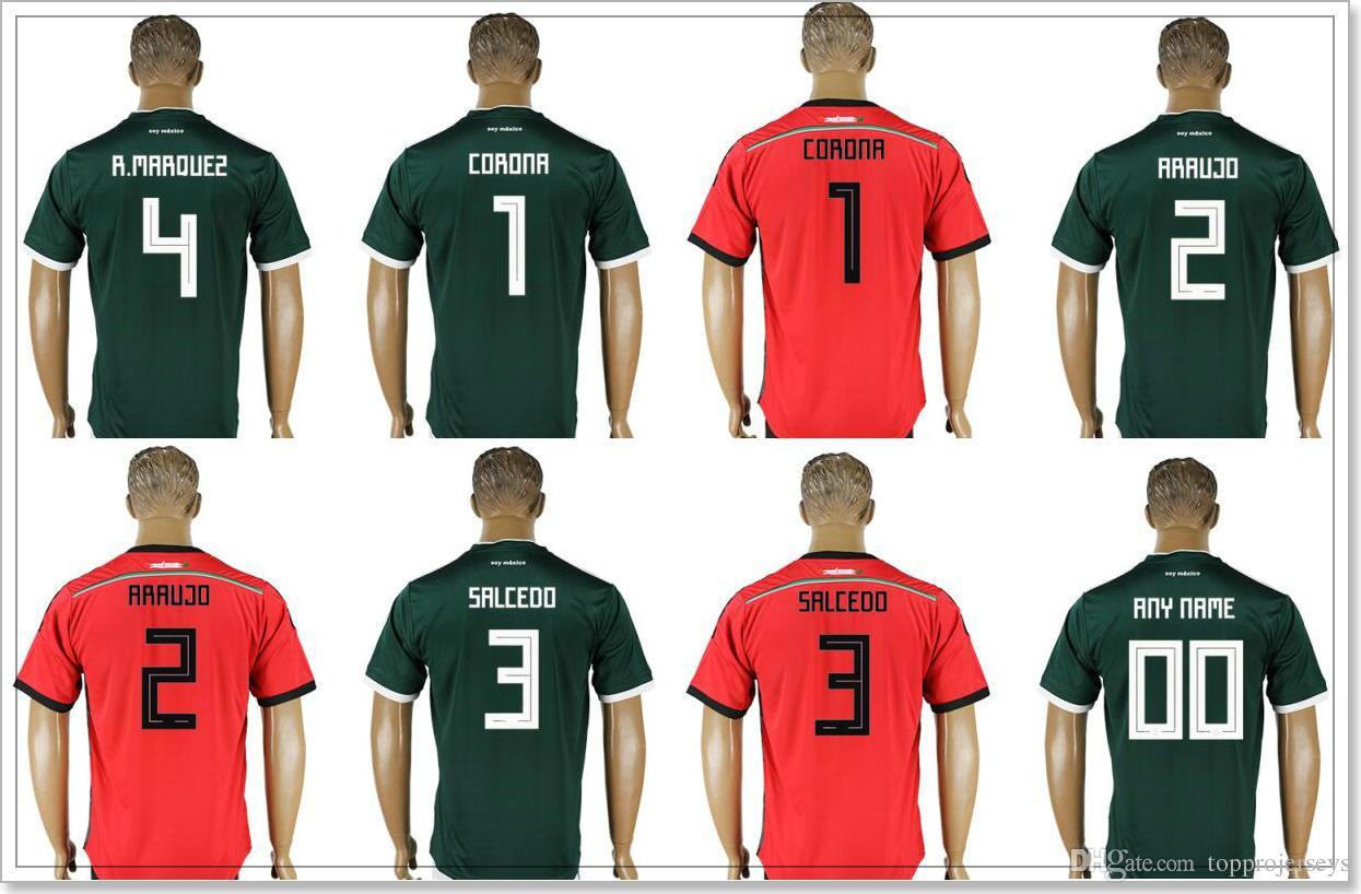 f9997ac1b 2019 Mexico Mens  1 Jose De Jesus Corona 2 Nestor Araujo 3 Carlos Salcedo 4  Rafael Marquez Football Shirts Uniforms Custom Soccer Jerseys Cheap From ...