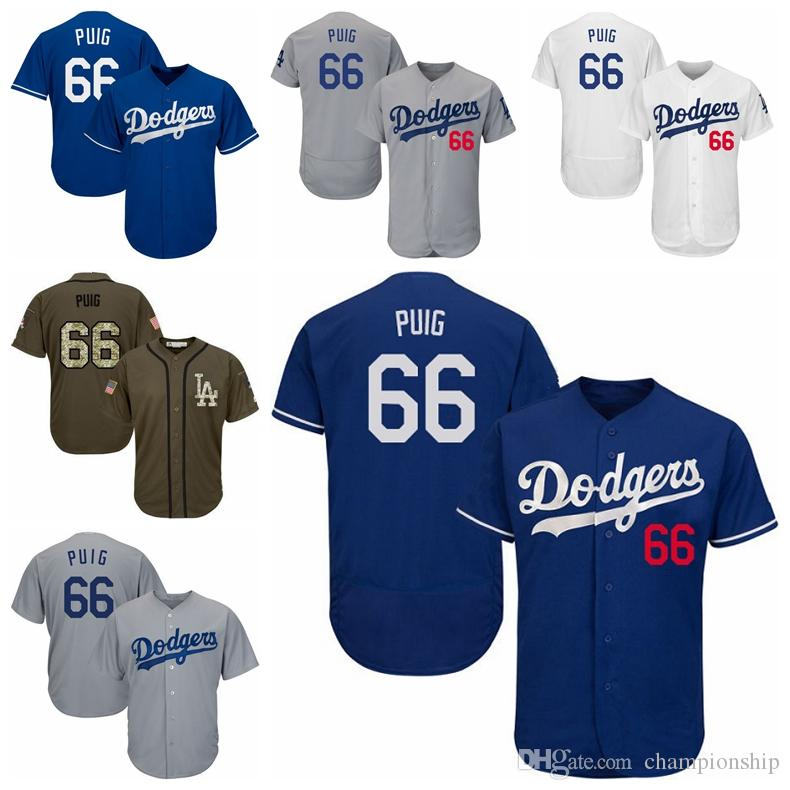 2019 Men Women Youth Dodgers Jerseys 66 Puig Baseball Jerseys White Grey  Gray Blue Salute Military From Championship 743376a73bd