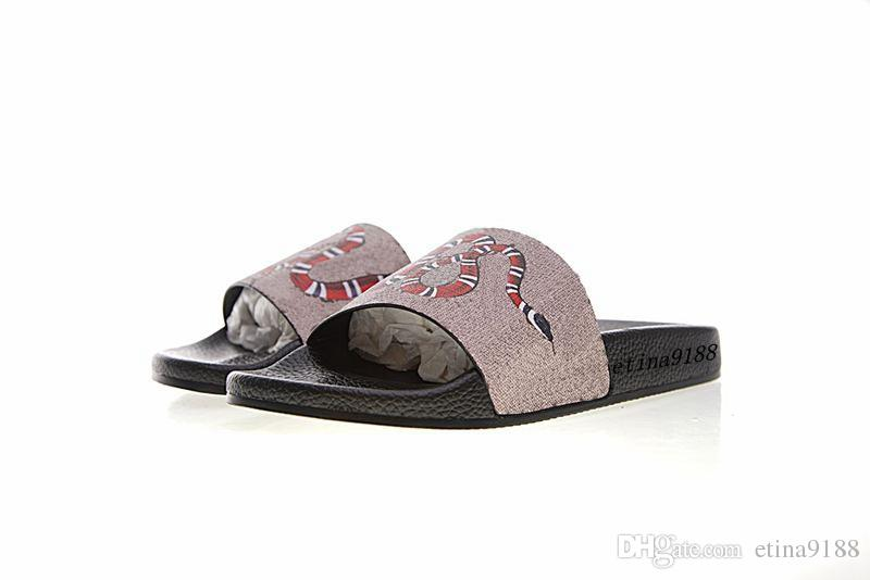 aea96547069b5 Fashion Snake Print Flats Slide Sandals Mens And Womens Causal Beach ...