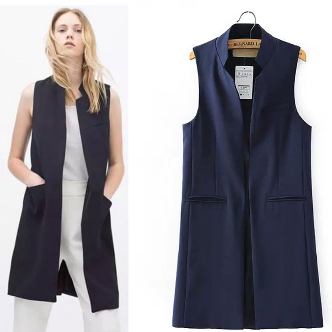 4ebfbc228f617a 2019 Women S Mandarin Collar Open Front Long Vest Waistcoat Cardigan Blazer Sleeveless  Jacket Outfit Women Long Business Suit Vest From Yukime