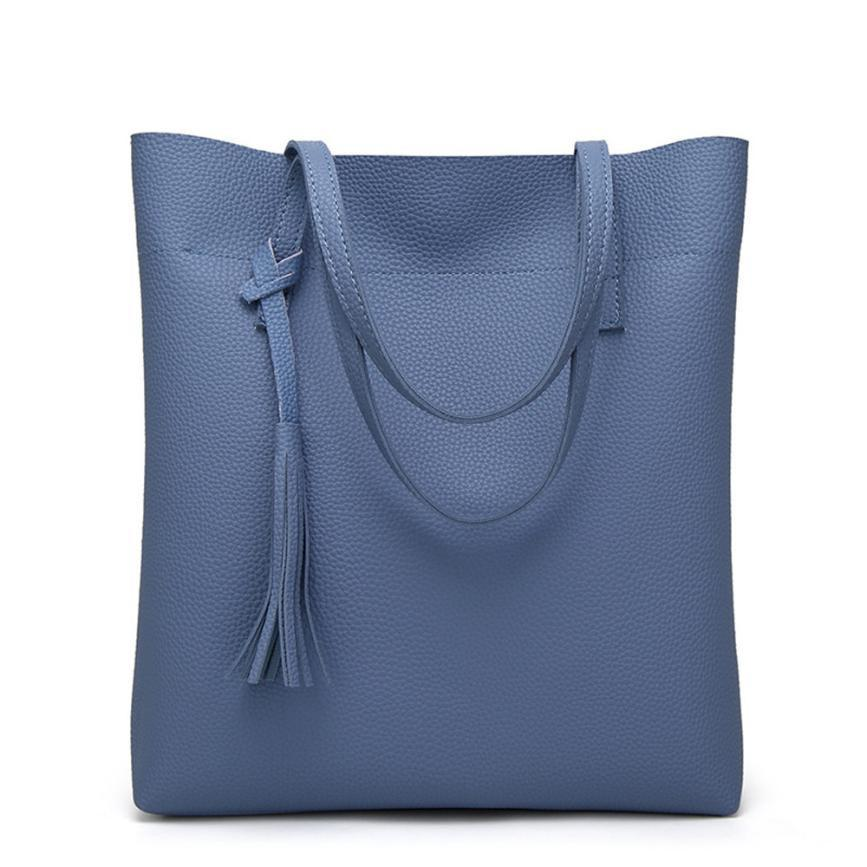 6528a18439e Shoulder PU Leather Tassel Handbags Women Purse Shopper Totes Luxury ...
