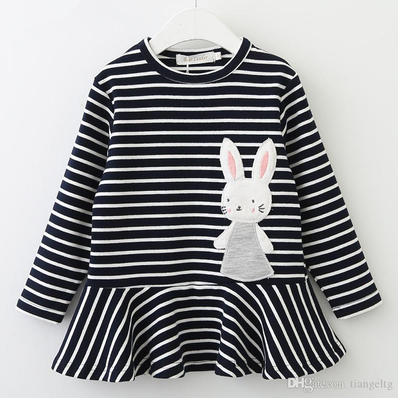 318c033d28 2019 Bear Leader Autumn Sweater Dresses Ruffle Frills Striped Rabbit Patch  Design Appliques Long Sleeve Knee Length Skirts Outdoor Kids Outfits From  ...