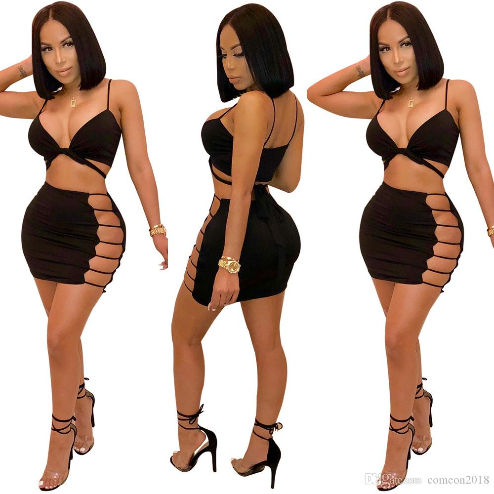 4f7a64584d 2019 Women Clothes Bodysuit Sets Women Two Piece Outfits Womens Tracksuits  Sexy Night Club Bra Dress Short Pants Sweet Style V Neck Short Top From ...