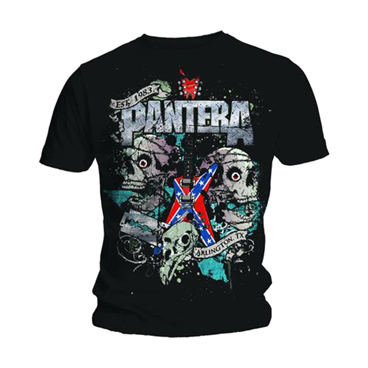 Pantera Skulls Dimebag Darrell Guitar Metal Licensed Tee T-Shirt Men