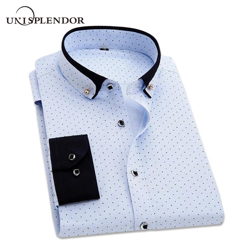 a3cb54c79 2019 Men Shirt Fashion Casual Floral Polka Dot Work Wear Wedding Dress Man  Cotton Shirts Slim Fit Long Sleeve Male Printed Shirt U86 From Waxeer, ...