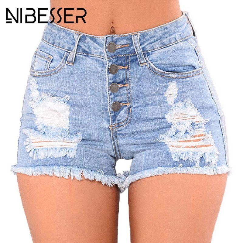 1862c32d0d 2019 NIBESSER Short Jeans Fashion High Waist Denim Shorts Women 2018  Fashion Hole Ripped Summer Tassel Streetwear Femme Super Shorts From  Lbdapparel, ...