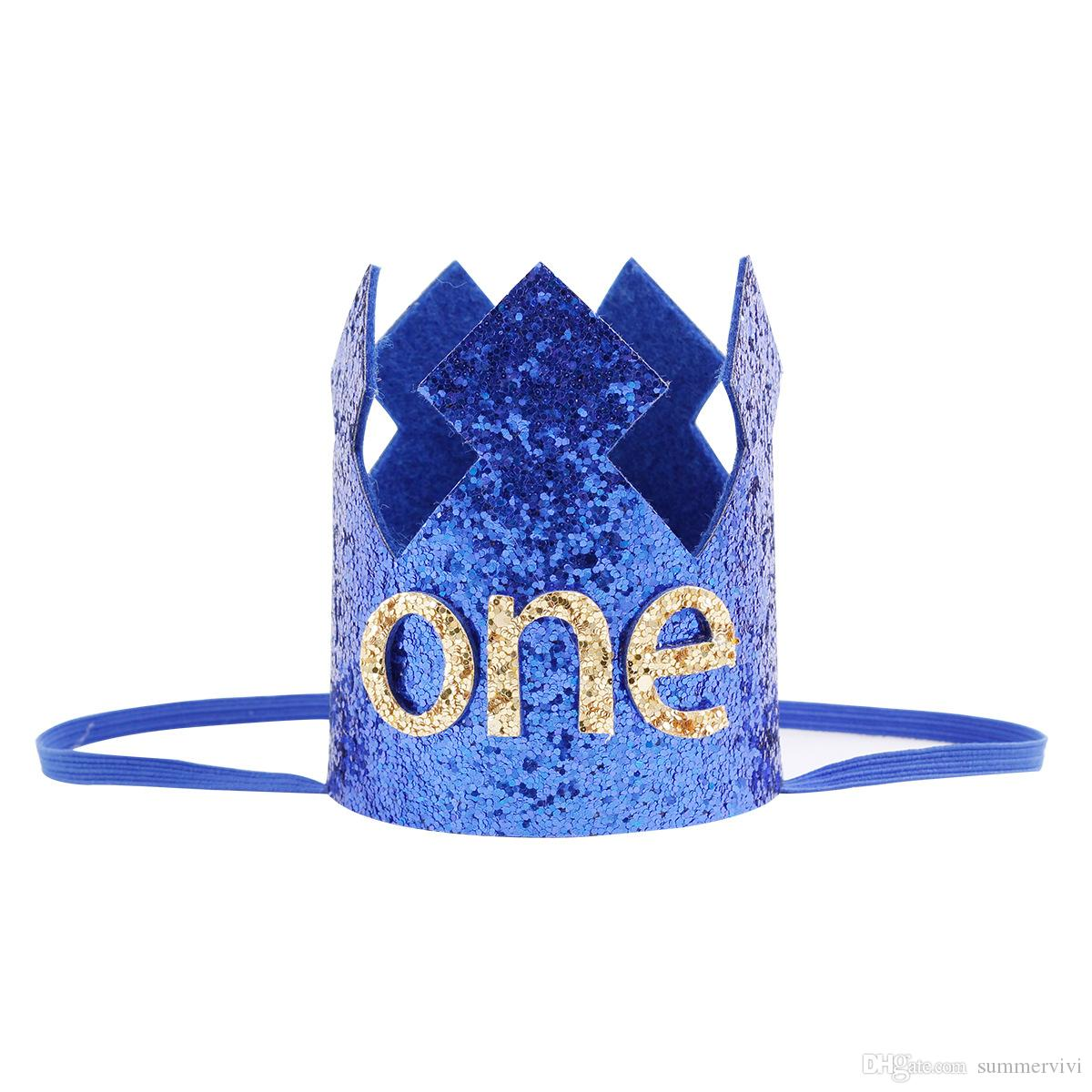 Glitter Baby kids birthday party headbands boutique sequins crown hat princes princess hairbands for children photography props YA0306